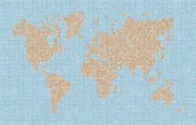 Fotobehang - World Map Dot Texture