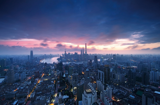 Shanghai City Sunrise - Fototapeter & Tapeter - Photowall