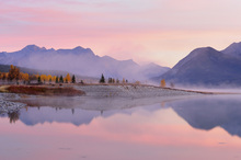 Canvastavla - Abraham Lake in Autumn
