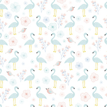 Wallpaper - Flamingos Turquoise