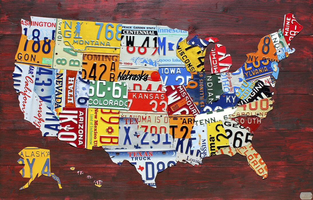 USA Map License Plates Wall Mural Photo Wallpaper Photowall