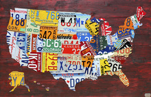 Canvas print - USA Map License Plates