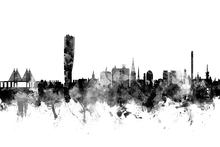 Canvas print - Malmö Skyline Black