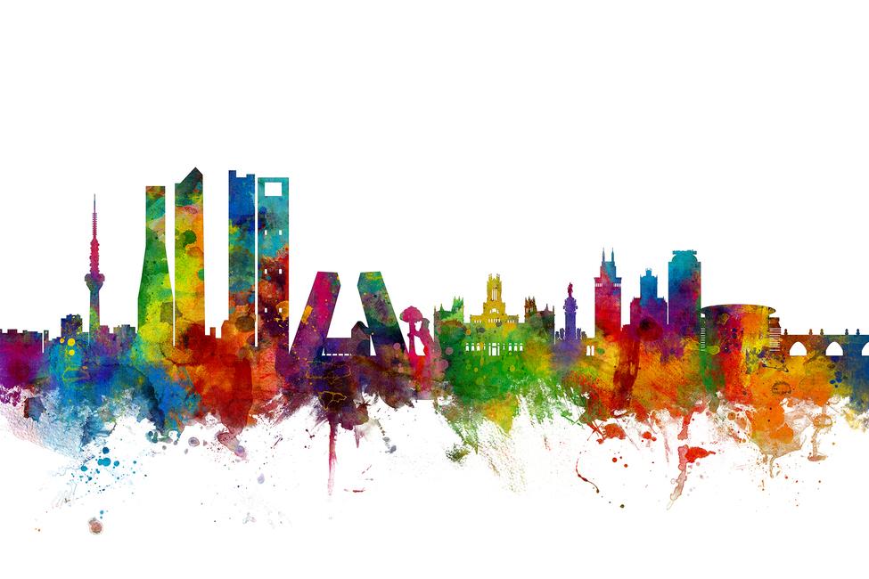 madrid skyline - canvas print  u0026 photos