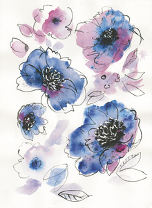 Fototapet - Blue Watercolor Notes