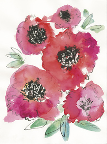Fototapet - Watercolor Poppies