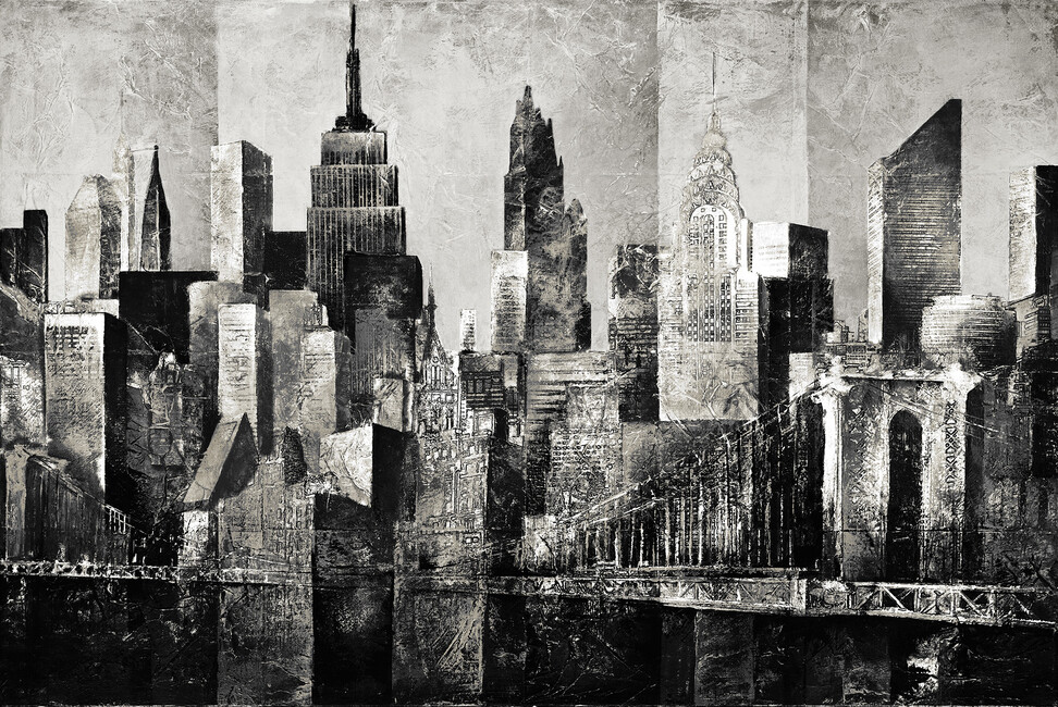 New York Skyline Art Bw Wall Mural Amp Photo Wallpaper