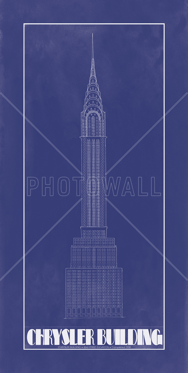 Chrysler building blue print wall mural photo for Chrysler building mural
