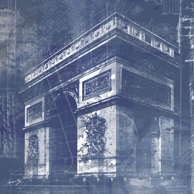 Triumphal arch blueprint wall mural photo wallpaper for Arc de triomphe wall mural