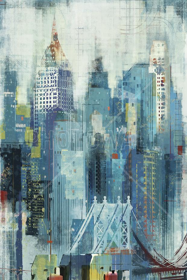 New york skyline artwork decoration murale papier - Deco murale new york ...