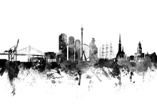Canvas print - Göteborg Skyline Black