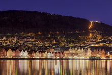 Lerretsbilde - Colorful Houses of Bergen, Norway