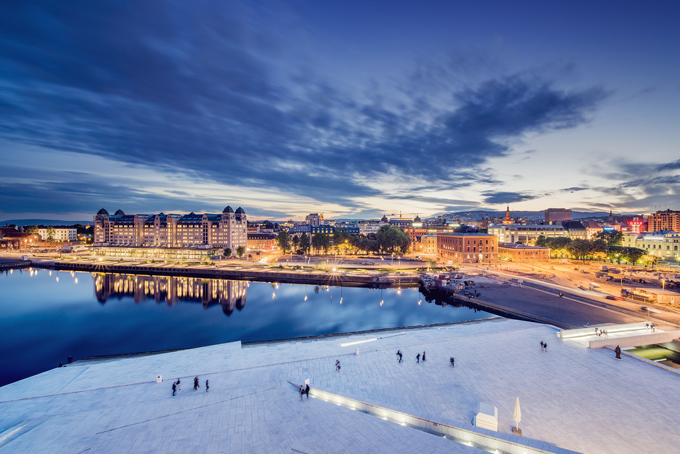 View from Oslo Opera House at Night