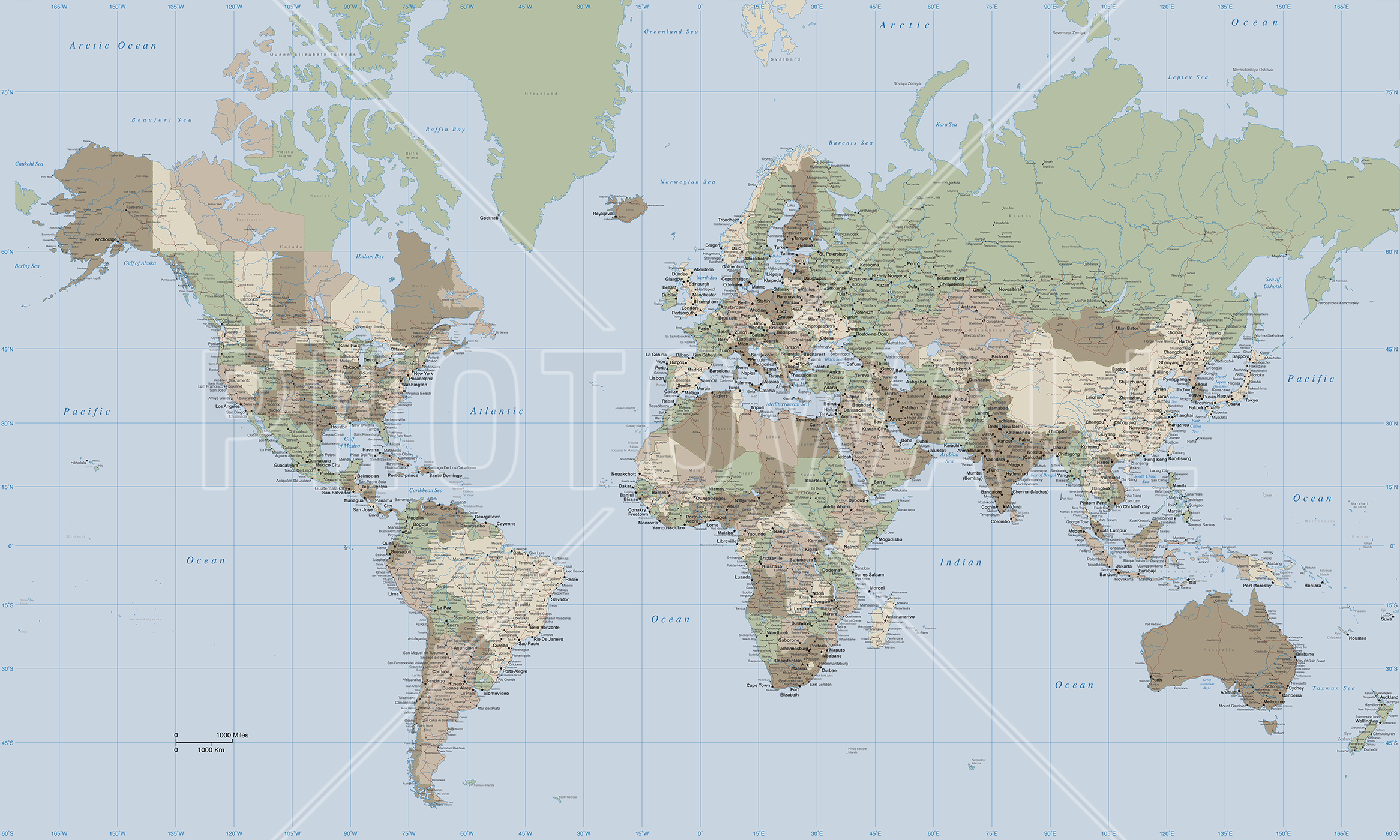Wall Mural   World Map Vintage Part 89