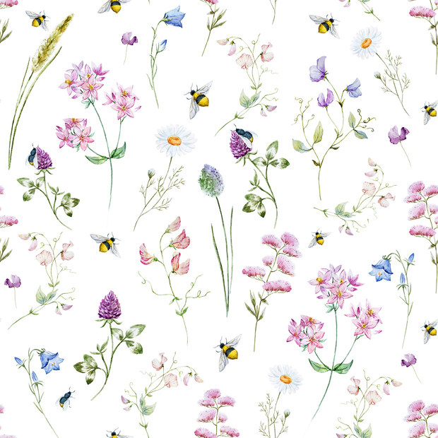 Wild Flowers Watercolor Pattern