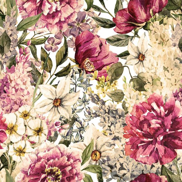 Spring flowers watercolor pattern wall mural photo for Spring flowers watercolor