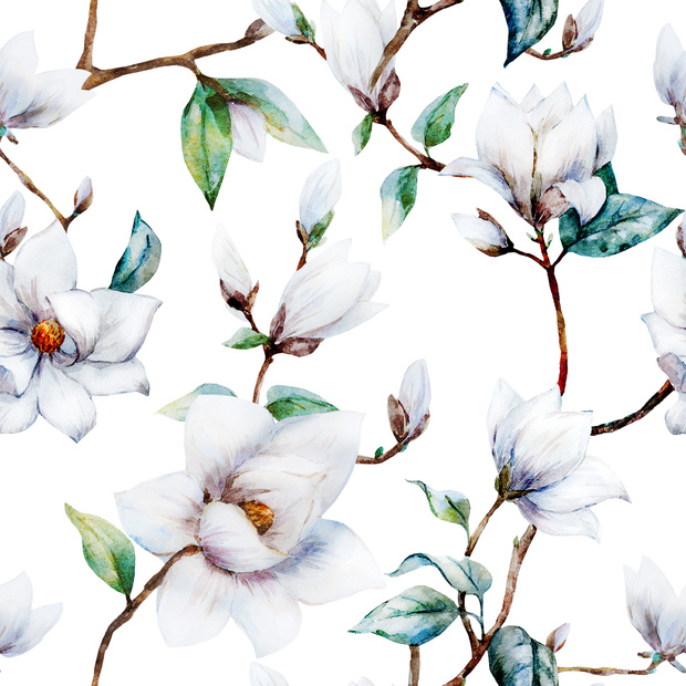 White Magnolia Watercolor Pattern