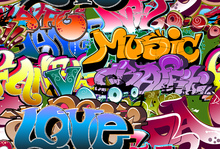Mural de pared - Music Love Graffiti