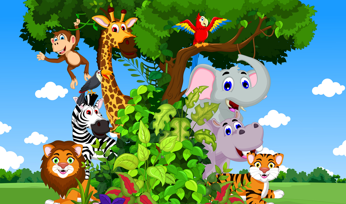 Animals in Forest Cartoon