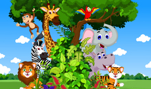 Fototapete - Animals in Forest Cartoon