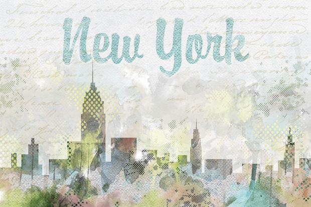 watercolor new york fototapeten tapeten photowall. Black Bedroom Furniture Sets. Home Design Ideas