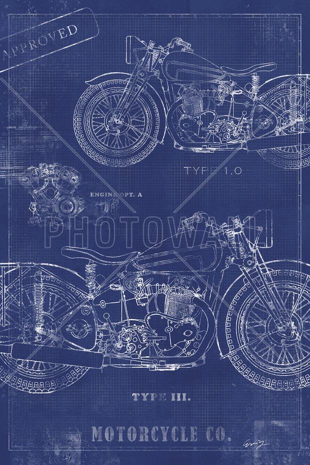 Motorcycle Blueprint 2 Wall Mural Amp Photo Wallpaper