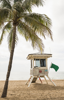 Fototapet - Green Flag on Florida Beach