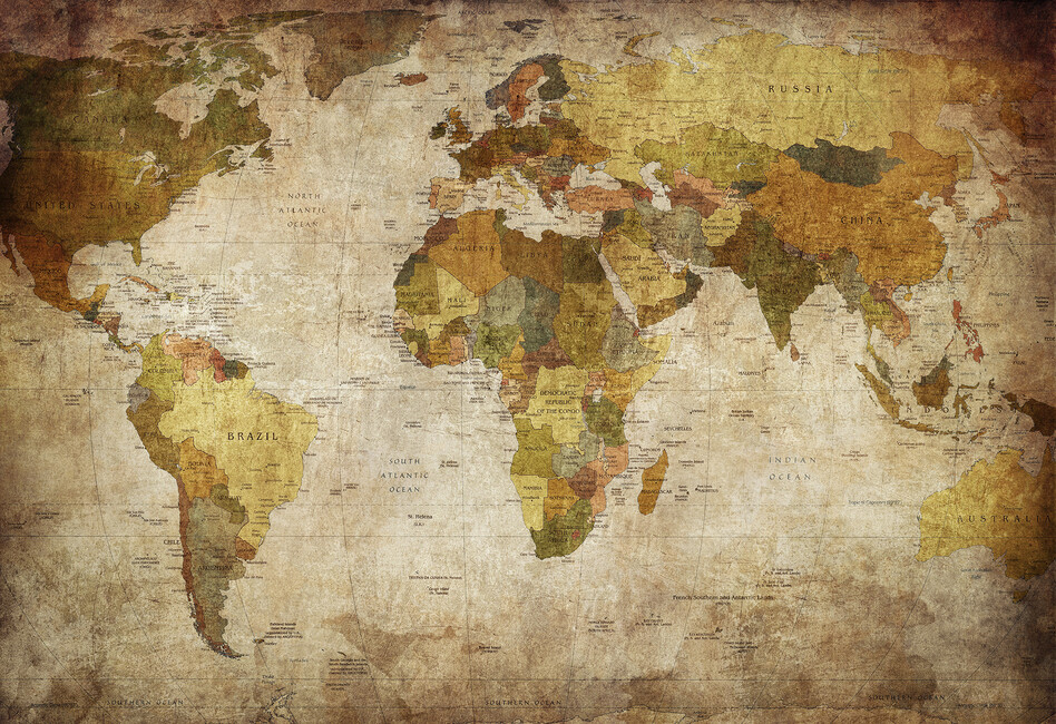 Old vintage world map wall mural photo wallpaper photowall old vintage world map gumiabroncs Gallery
