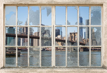 Canvas print - Brooklyn Bridge through Broken Window
