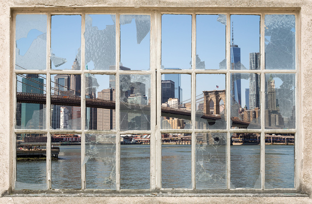Brooklyn bridge through broken window wall mural photo for Broken glass mural