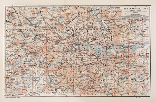 London map fotobehang behang photowall - Behang london ...