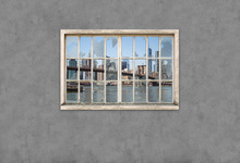 Fototapet - View from Basement Windows - Brooklyn Bridge