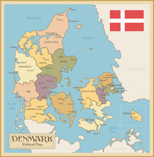 Canvas print - Denmark Political Map