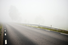 Fototapet - Misty Road in Småland, Sweden
