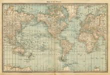 Fotobehang - Pale Vintage World Map