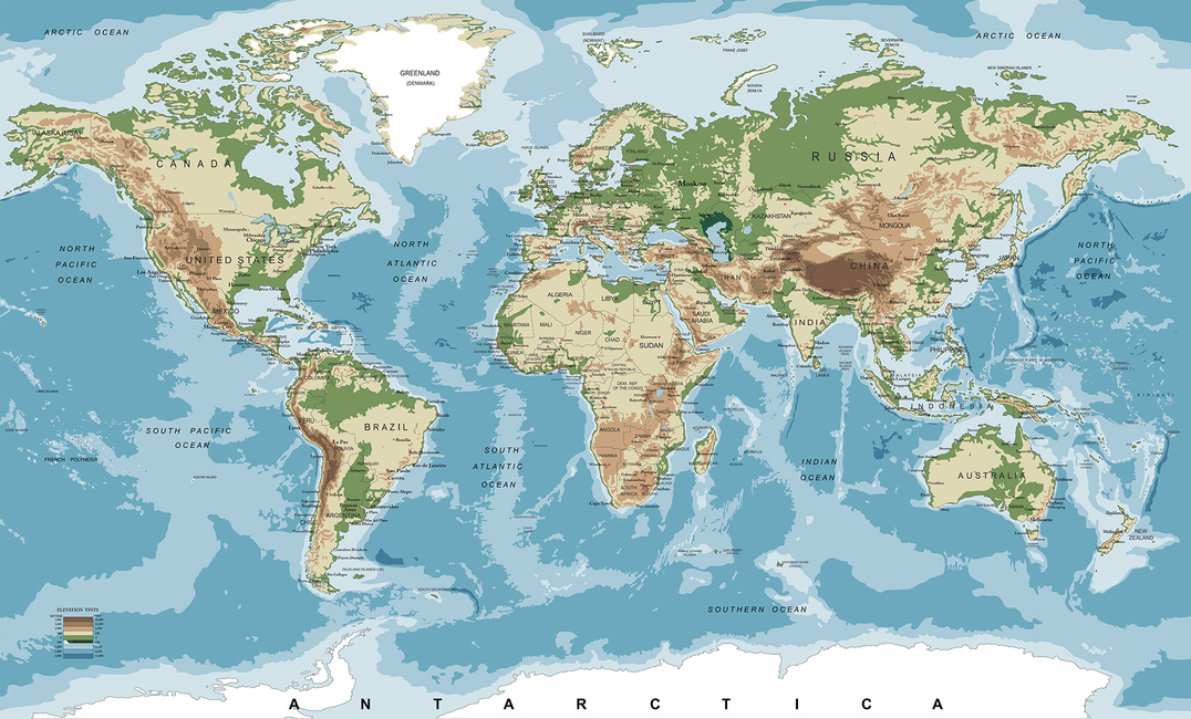 World Map with Elevation Tints