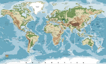 Fotobehang - World Map with Elevation Tints