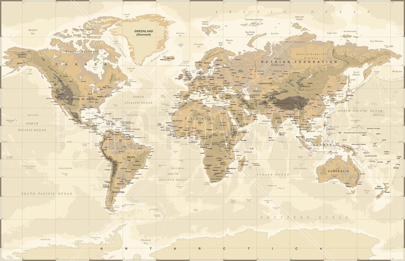 World map wallpaper atlas wall murals photowall wall mural beige and green world map sciox Choice Image