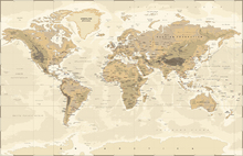 Fotobehang - Beige and Green World Map
