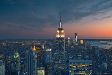 Fototapet - Aerial View of Manhattan at Sunset