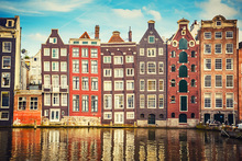Fotobehang - Amsterdam Houses with Water