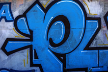 Wall mural - Blue Detail from Graffiti Wall