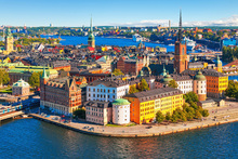 Canvastavla - Panorama of the Old Town in Stockholm