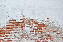 Wall mural - Red Brick Wall with Sprinkled White Plaster