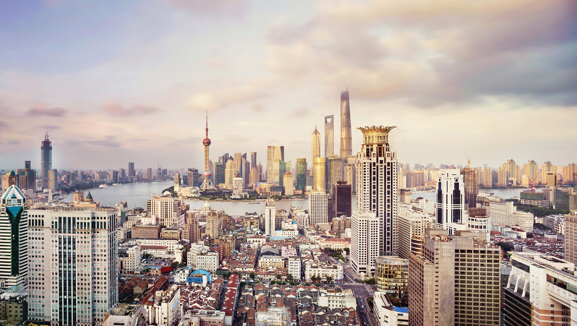 shanghai skyline fototapeten tapeten photowall. Black Bedroom Furniture Sets. Home Design Ideas
