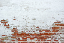 Wall mural - Sprinkled White Plaster on Red Brick Wall