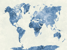 Fotobehang - Blue World in Watercolor