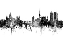 Canvas print - Prague Skyline, black and white
