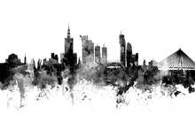 Canvas print - Warsaw Skyline, black and white