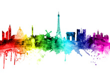 Canvas print - Paris Skyline Rainbow